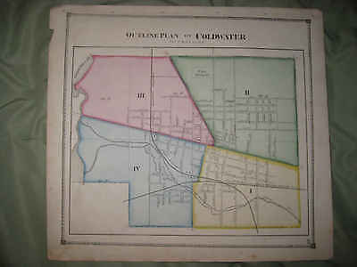 Antique 1872 Coldwater Whole City Branch County Michigan Handcolored Map Nr