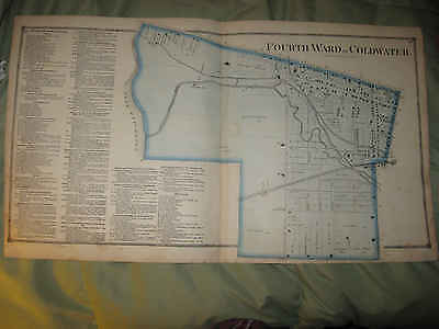 Large Antique 1872 Coldwater 4Th Ward Branch County Michigan Handcolored Map Nr