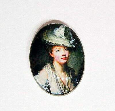 2 of 40x30 mm Lacy Hat Victorian Vintage Beautiful Glass Woman Cameos 4 Pendants