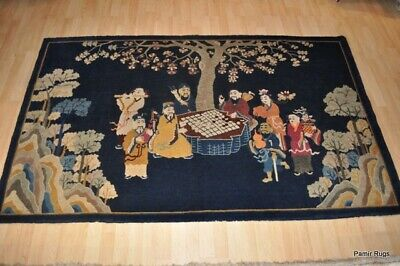 Chinese pictorial 5x8 Antique  8 gods antique rug, Eight Immortals handmade art.