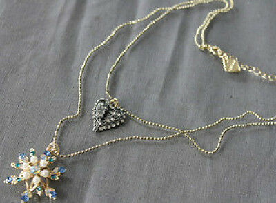 N245 BETSEY JOHNSON Crystal SNOWFLAKE Angel Wings Wand Hearts Necklace US
