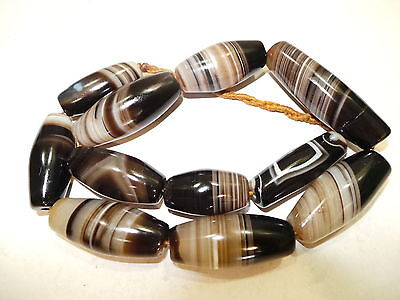 Old Afghanistan Ethnic Ellipsoid Shaped Bended Agate Bead Necklace (10)