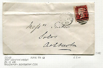 Great Britain Postal History Cover - 1868 SG #43 Plate 90 - Newton Abbot CDS