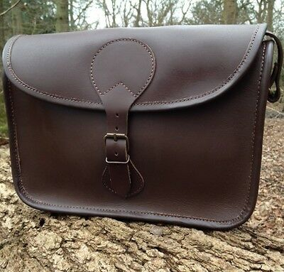 Hand Made Brown Leather Shooting Cartridge Bag Satchel Stores 100+ Cartridges