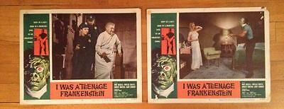 "I WAS A TEENAGE FRANKENSTEIN 1957 set of 2 11""x14"" ORIGINAL Lobby Cards #6 and 8"