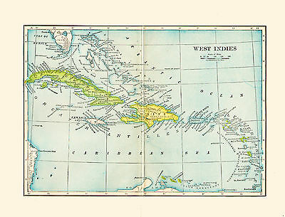 1903 Color Map of the WEST INDIES