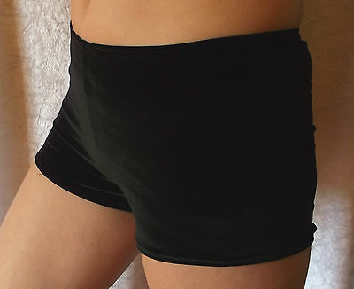 Black Velvet Gymnastic Shorts Hipsters  Over Leotard, Dance