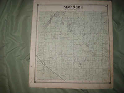Antique 1872 Algansee Township Branch County Michigan Handcolored Map Superb Nr
