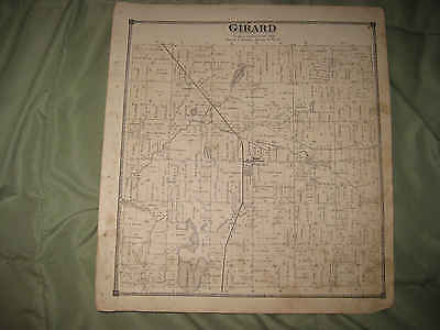 Antique 1872 Girard Township Branch County Michigan Handcolored Map Rare Nr