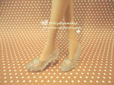 Doll Shoes ~ Barbie Cinderella Clear Heel shoes 2pairs set