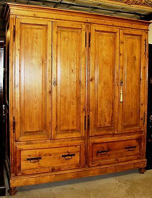 Antique Country French Pine Deep Four Door Cabinet c1790 Glowing Patina Hardware
