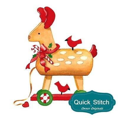 Quick Stitch Country Christmas Wooden Pull Reindeer Counted Cross Stitch Charts
