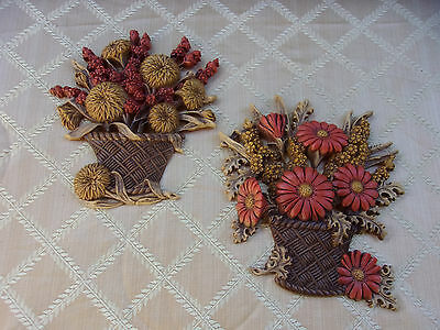 Vintage 1977 Home Interiors Burwood Two Flower Pot Wall Plaques HOMCO 2066 1&2