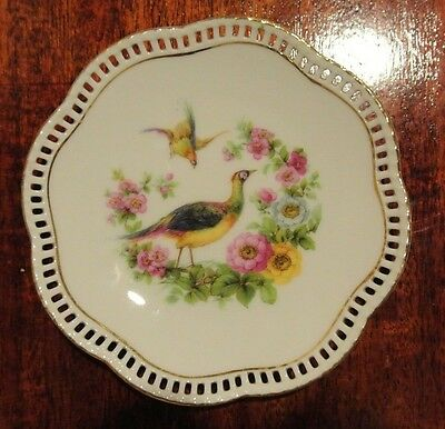 """Vintage Germany Porcelain Small Plate with Birds and Roses 5-3/8"""" Diameter"""