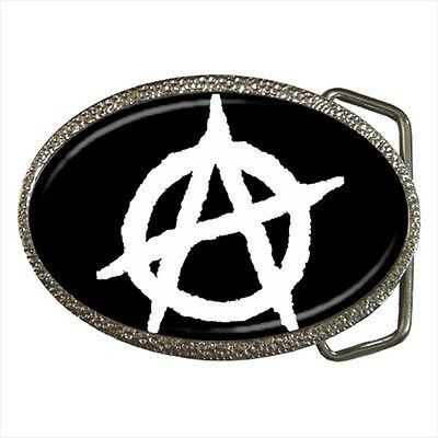 Anarchy Flag Symbol for Anarchists Belt Buckle Silver Metal
