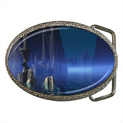 Hidden Castle Fantasy Belt Buckle Silver Metal