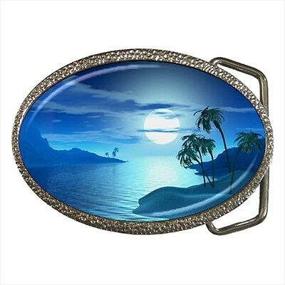 Tropical Beach Moonlight Fantasy Belt Buckle Silver Metal