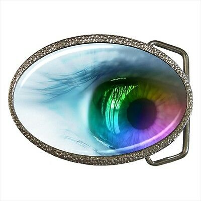 Gothic Punk Multi-colored Eyeball Belt Buckle Silver Metal