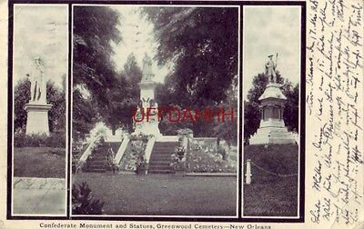 pre-1907 CONFEDERATE MONUMENT & STATUES GREENWOOD CEMETERY NEW ORLEANS, LA 1905