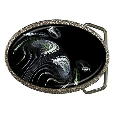 Monochrome Ammonite Fractal Belt Buckle Silver Metal