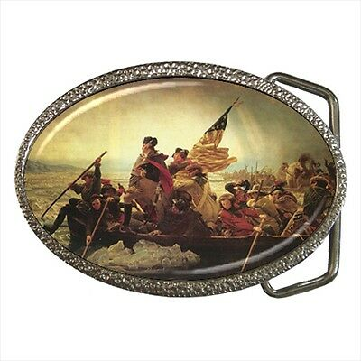 Washington Crossing The Delaware River Revolutionary War Belt Buckle Silver Meta
