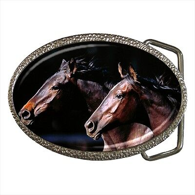 Two Horses Animal Lover Belt Buckle Silver Metal