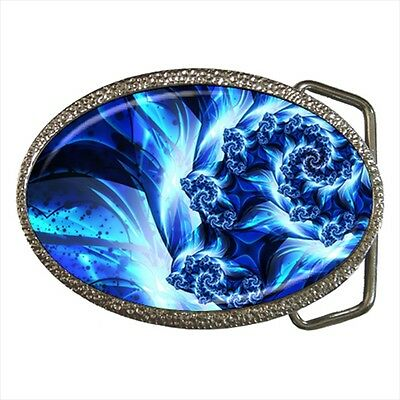 Turquoise And Cobalt Blue Dreamworld Fractal Belt Buckle Silver Metal