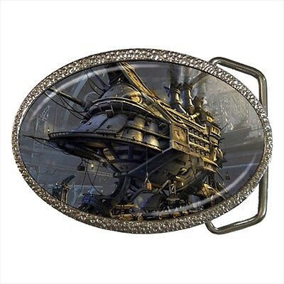 Steampunk Airship In Hangar Belt Buckle Silver Metal