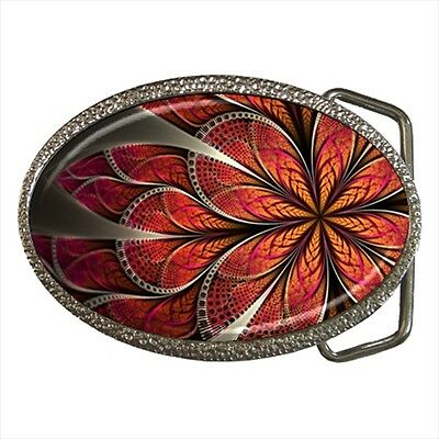 Flower Petals Fractal Belt Buckle Silver Metal