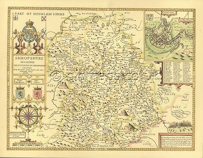 Shropshire c.1610 Replica John Speed Old Map ALL Hand Coloured UNIQUE GIFT