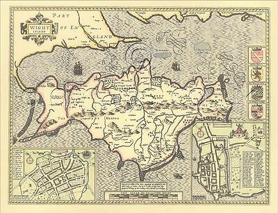 Isle of Wight Newport Replica Old John Speed map c.1610 ALL HAND COLOURED A Gift