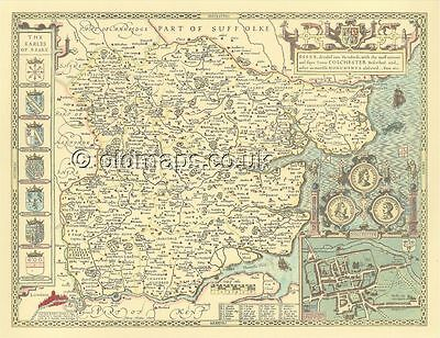 Essex  Colchester Old map Replica ALL HAND COLOURED John Speed 1610 UNIQUE Gift!