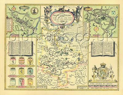 Old Huntingdonshire Huntingdon Ely Replica  Speed c.1610. Map ALL Hand Coloured
