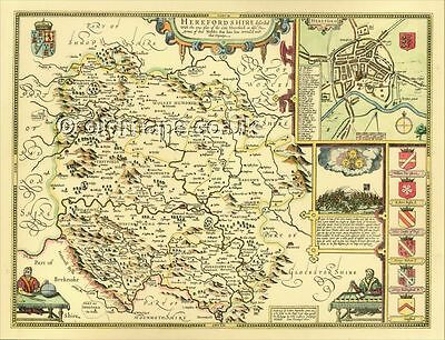 Old Herefordshire Hereford Replica John Speed c.1610 Map ALL Hand Coloured GIFT