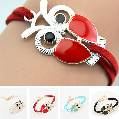 Cute Owl Bracelet Cuff Hand Braided Vintage Gold Alloy Multilayer Bangle 4 Color