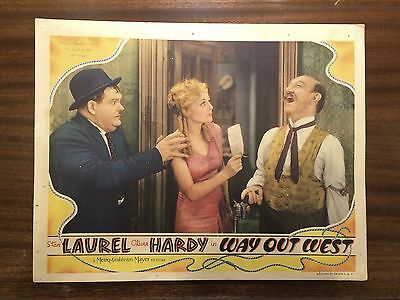 "Laurel And Hardy ""Way Out West"" ORIGINAL 1937 Lobby Card"