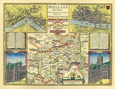 Middlesex LONDON Replica Old  map John Speed c1610 ALL Hand Coloured UNIQUE GIFT