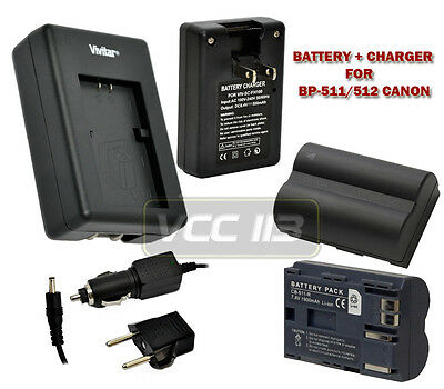 Charger AC/DC + Battery FOR Canon EOS 50D 40D CG-580 BP-511A