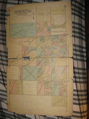 Huge Antique 1913 Charleston West Part Coles County Illinois Handcolored Map Nr