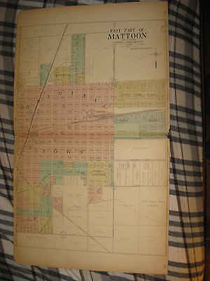 Huge Antique 1913 Mattoon East Part Coles County Illinois Handcolored Map Nr