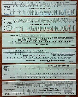 Construction Slide Rule Calculator Estimator 6 Piece Set-Great For Contractors