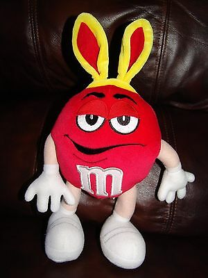 Red M&M Easter Bunny Plush Poseable Doll 12""