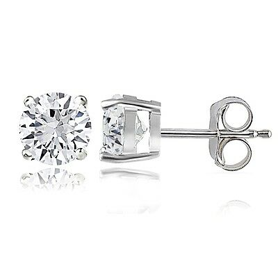 925 Silver 2ct Created White Sapphire Round Stud Earrings, 6mm