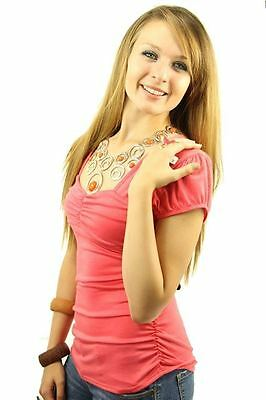121AVENUE Attractive Ruched Sweetheart Top L 1X 2X Large Women Pink Career