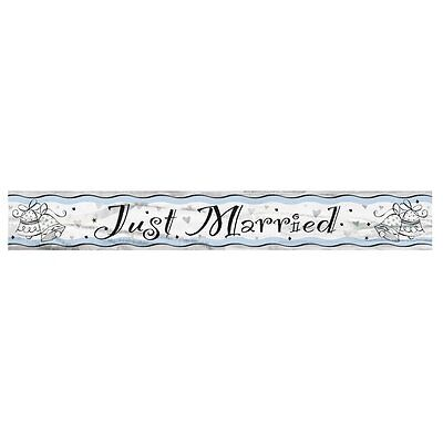 Just Married Foil Party Banner - 12ft (3.65m) Long - Wedding Party Decoration