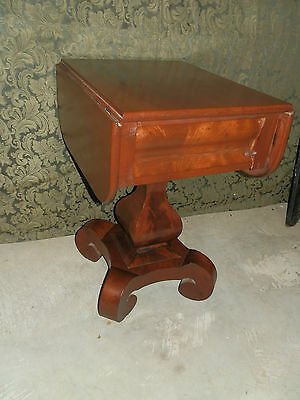 Antique Victorian  Mahogany Drop Leaf Work Table  Great Base  Free Shipping!!
