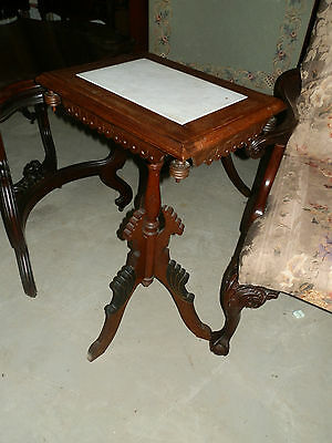Beautiful Victorian Marble Top Hand Carved Plant Stand W/ebonized Detail