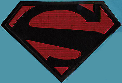 "7"" x 10"" Large Embroidered Superman New 52 Black & Red Cape Logo Patch"
