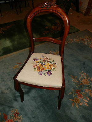 Ever Sweet Antique Grape Carved Balloon Back Needlepoint  Chair