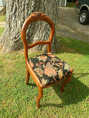 Gorgeous Antique Carved Balloon Back Chair W/glowing Natural Patina!